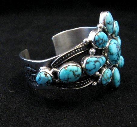 Image 2 of Derrick Gordon Turquoise Cluster Silver Bracelet, Navajo Native American