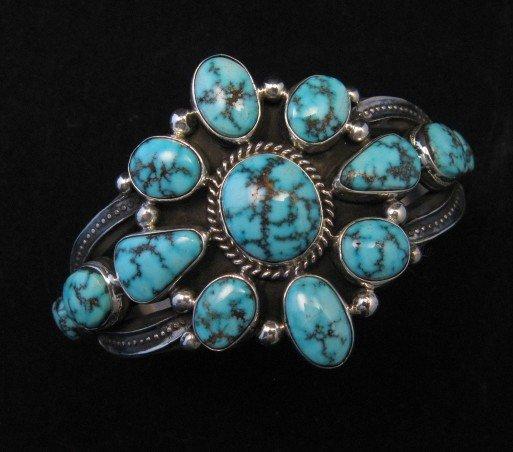 Image 3 of Derrick Gordon Turquoise Cluster Silver Bracelet, Navajo Native American