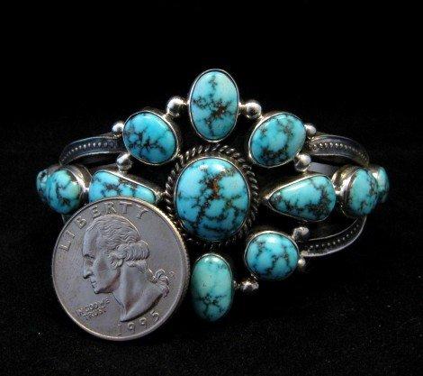 Image 4 of Derrick Gordon Turquoise Cluster Silver Bracelet, Navajo Native American