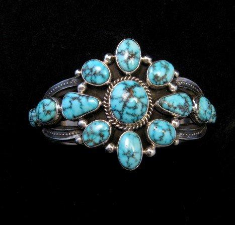 Image 7 of Derrick Gordon Turquoise Cluster Silver Bracelet, Navajo Native American