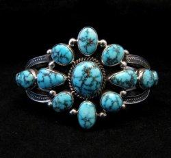 Derrick Gordon Turquoise Cluster Silver Bracelet, Navajo Native American