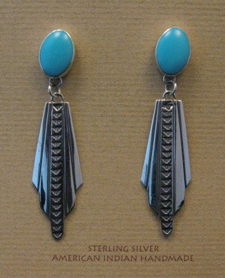 Image 0 of Long Navajo Ronnie Willie Turquoise Post Dangle Earrings
