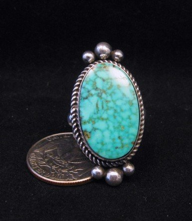 Image 0 of Native American Kingman Birdseye Turquoise Ring Sz8 by Albert Jake