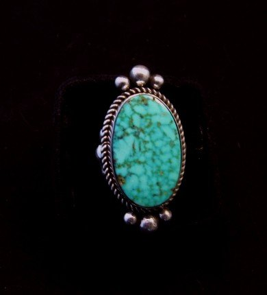 Image 1 of Native American Kingman Birdseye Turquoise Ring Sz8 by Albert Jake