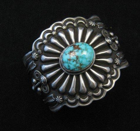 Image 0 of Darrell Cadman Navajo Kingman Birdseye Turquoise Silver Bracelet