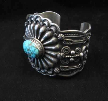 Image 1 of Darrell Cadman Navajo Kingman Birdseye Turquoise Silver Bracelet