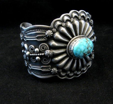 Image 2 of Darrell Cadman Navajo Kingman Birdseye Turquoise Silver Bracelet