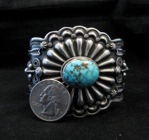 Image 3 of Darrell Cadman Navajo Kingman Birdseye Turquoise Silver Bracelet