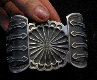 Image 5 of Darrell Cadman Navajo Kingman Birdseye Turquoise Silver Bracelet