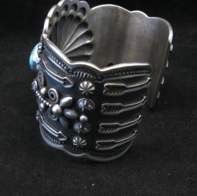 Image 6 of Darrell Cadman Navajo Kingman Birdseye Turquoise Silver Bracelet