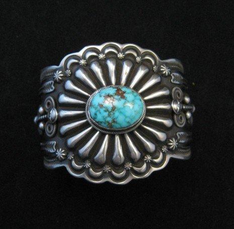 Image 7 of Darrell Cadman Navajo Kingman Birdseye Turquoise Silver Bracelet