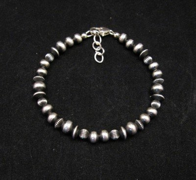 Image 0 of Navajo Hand Finished Mixed Sterling Silver Bead Bracelet Navajo Pearls