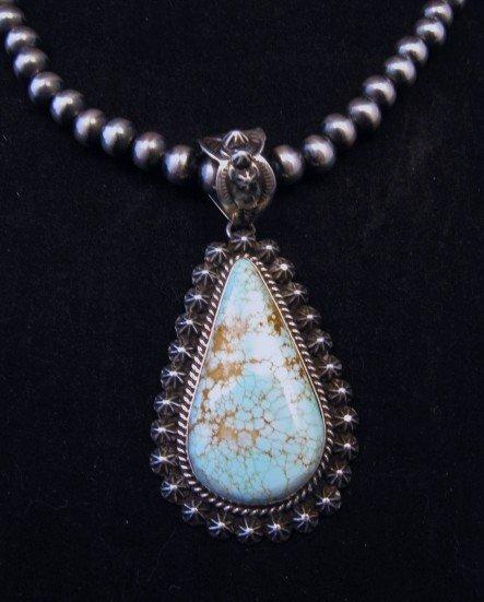 Image 0 of Native American Navajo No.8 Turquoise Silver Pendant, Happy Piasso