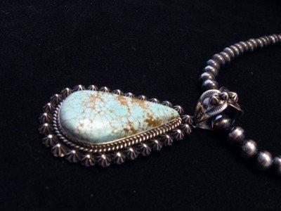 Image 4 of Native American Navajo No.8 Turquoise Silver Pendant, Happy Piasso