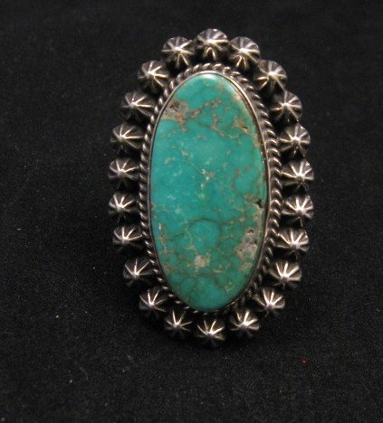 Image 0 of Navajo Royston Turquoise Silver Ring, Happy Piasso sz8-1/2