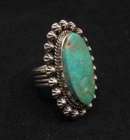 Image 1 of Navajo Royston Turquoise Silver Ring, Happy Piasso sz8-1/2