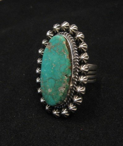 Image 2 of Navajo Royston Turquoise Silver Ring, Happy Piasso sz8-1/2