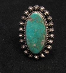 Navajo Royston Turquoise Silver Ring, Happy Piasso sz8-1/2