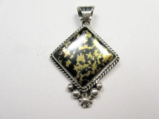 Image 1 of Navajo Native American Mystery Sterling Silver Pendant, Linda Yazzie