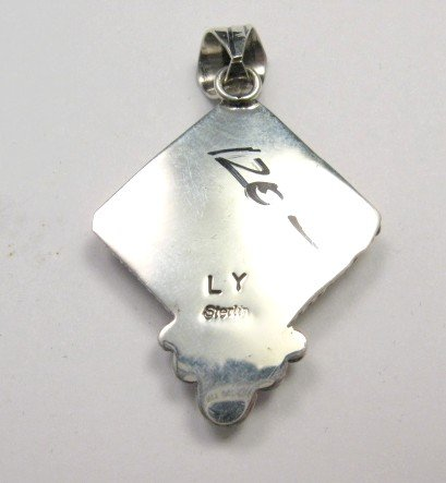 Image 2 of Navajo Native American Mystery Sterling Silver Pendant, Linda Yazzie