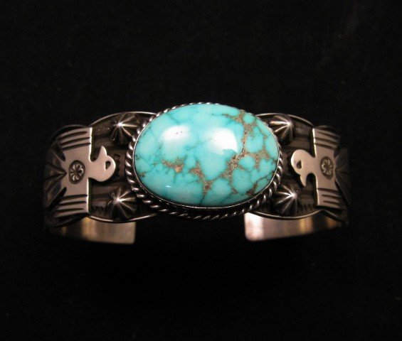 Image 0 of Andy Cadman Navajo Native American Kingman Turquoise Thunderbird Bracelet
