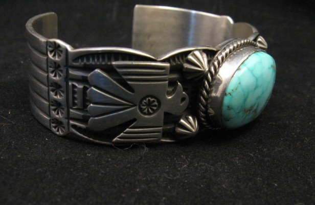 Image 1 of Andy Cadman Navajo Native American Kingman Turquoise Thunderbird Bracelet