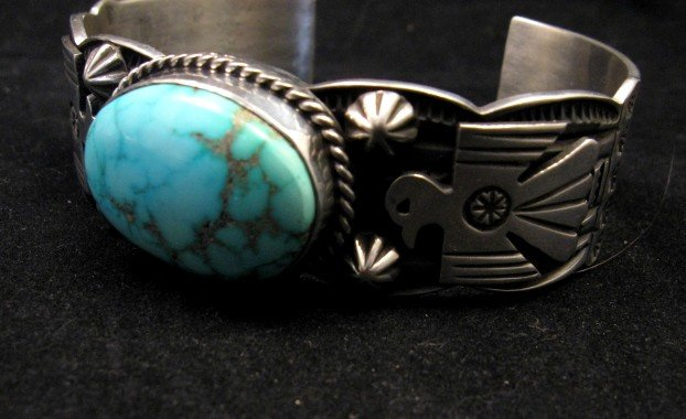 Image 2 of Andy Cadman Navajo Native American Kingman Turquoise Thunderbird Bracelet