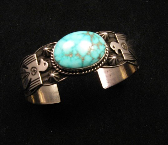 Image 3 of Andy Cadman Navajo Native American Kingman Turquoise Thunderbird Bracelet
