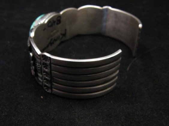 Image 4 of Andy Cadman Navajo Native American Kingman Turquoise Thunderbird Bracelet