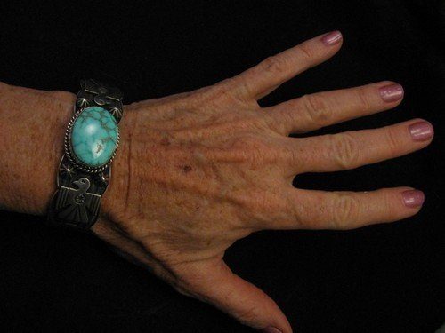 Image 5 of Andy Cadman Navajo Native American Kingman Turquoise Thunderbird Bracelet