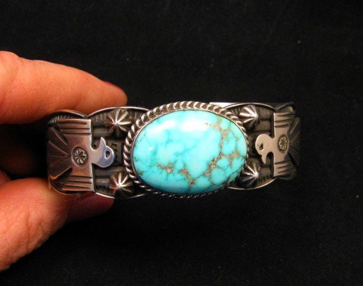 Image 6 of Andy Cadman Navajo Native American Kingman Turquoise Thunderbird Bracelet