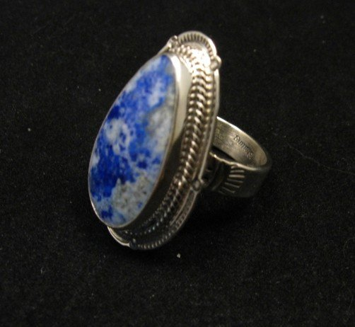 Image 1 of Navajo Native American Lapis Lazuli Sterling Ring sz8-3/4, Thomas Secatero