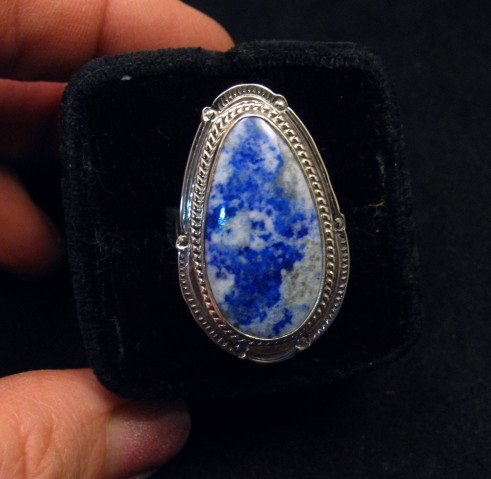 Image 0 of Navajo Native American Lapis Lazuli Sterling Ring sz8-3/4, Thomas Secatero
