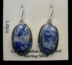 Native American Lapis Sterling Silver Earrings - Phillip Sanchez