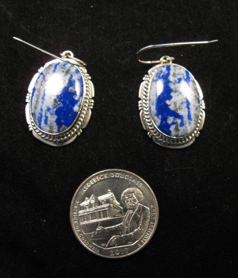Image 2 of Native American Lapis Sterling Silver Earrings - Navajo Sampson Jake
