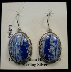 Native American Denim Lapis Sterling Silver Earrings - Navajo Sampson Jake