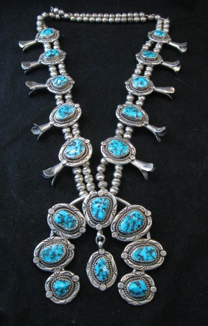 Image 10 of Vintage Native American Turquoise Squash Blossom Necklace, Earrings, V&N Edsitty
