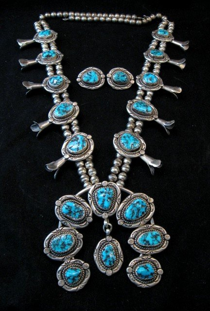 Image 0 of Vintage Native American Turquoise Squash Blossom Necklace, Earrings, V&N Edsitty