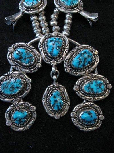 Image 1 of Vintage Native American Turquoise Squash Blossom Necklace, Earrings, V&N Edsitty