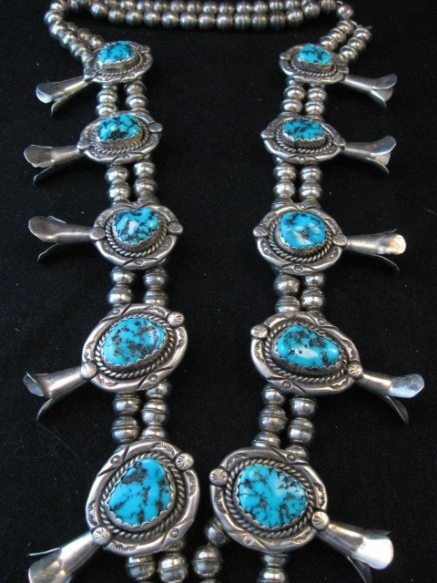 Image 2 of Vintage Native American Turquoise Squash Blossom Necklace, Earrings, V&N Edsitty