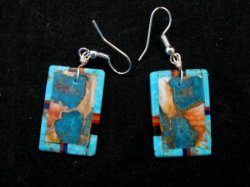 Colorful Santo Domingo Inlaid Turquoise Slab Earrings, Daniel Coriz