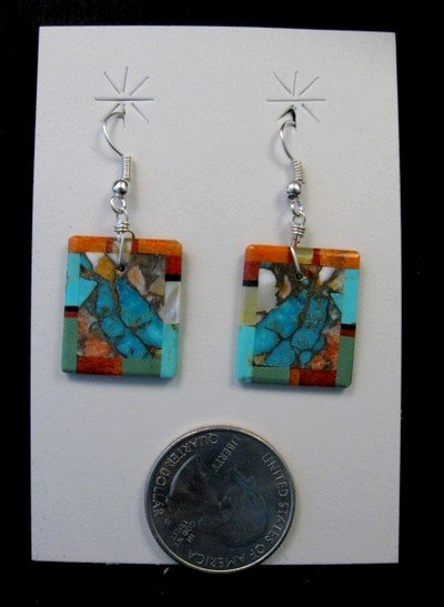 Image 0 of Unique Santo Domingo Turquoise Inlaid Slab Earrings, Daniel Coriz