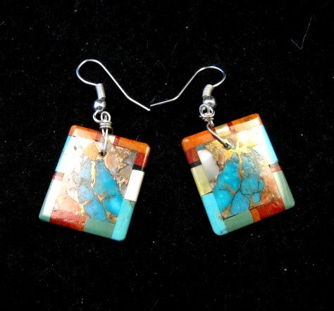Image 1 of Unique Santo Domingo Turquoise Inlaid Slab Earrings, Daniel Coriz