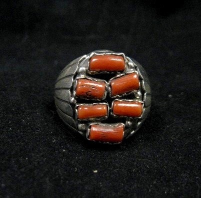 Image 0 of Navajo Native American Coral Sterling Silver Ring sz12, Julia Etsitty