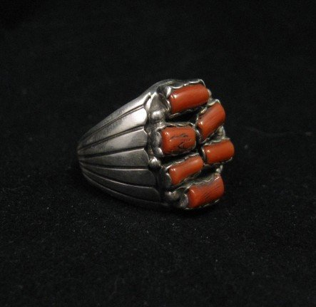 Image 2 of Navajo Native American Coral Sterling Silver Ring sz12, Julia Etsitty