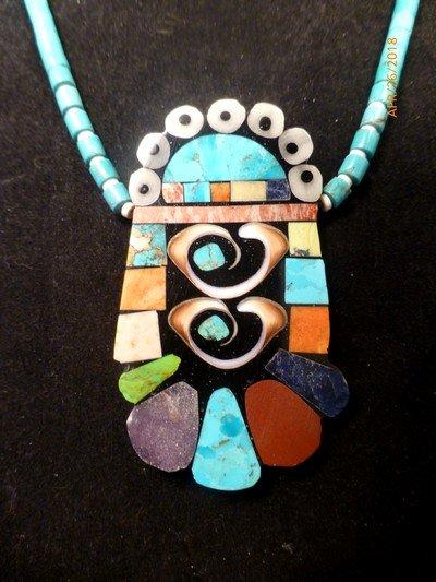 Image 0 of Vibrant Santo Domingo Mosaic Inlay Turquoise Heishi Necklace, Mary Tafoya