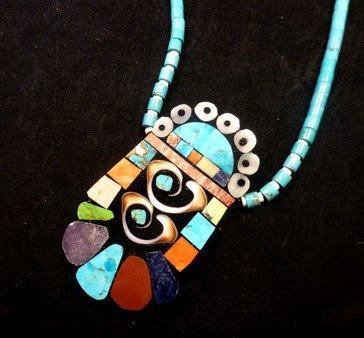 Image 2 of Vibrant Santo Domingo Mosaic Inlay Turquoise Heishi Necklace, Mary Tafoya