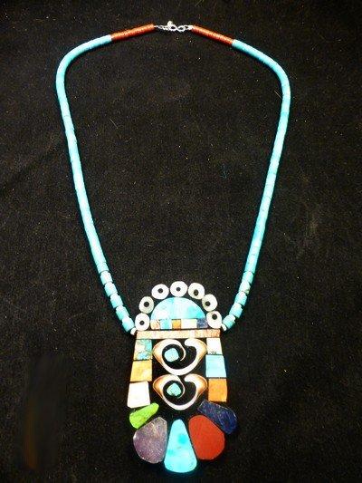 Image 3 of Vibrant Santo Domingo Mosaic Inlay Turquoise Heishi Necklace, Mary Tafoya