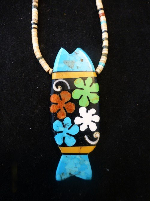 Image 0 of Santo Domingo Pueblo Mosaic Inlay Fish Necklace, Mary Tafoya