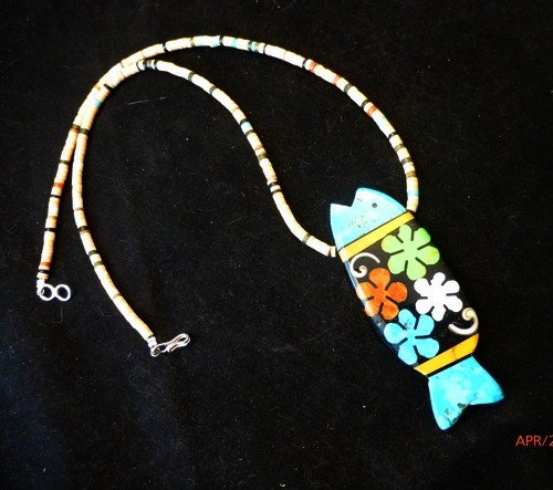 Image 1 of Santo Domingo Pueblo Mosaic Inlay Fish Necklace, Mary Tafoya